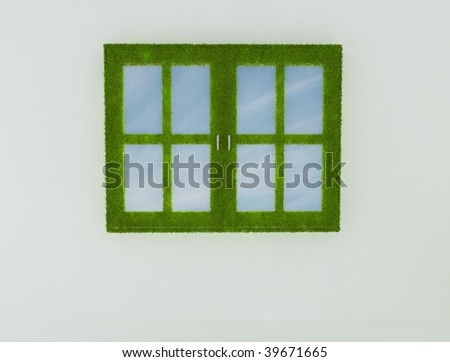 Grass framed window with skies