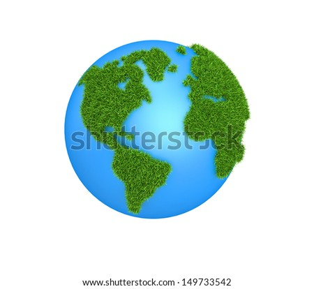 Grass Globe - America, isolated on white background