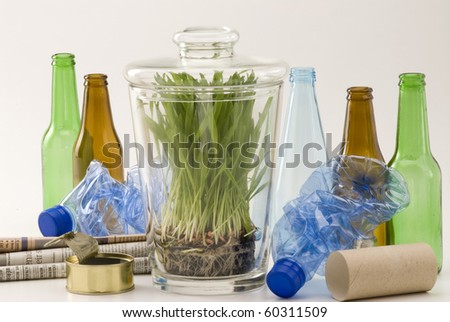 Grass growing in glass jar among household recycling items. White background.