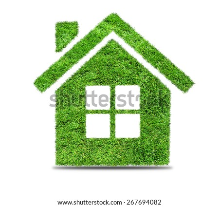 Grass home icon, isolated on white background. Ecology concept - stock photo