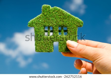 Grass home on a background of blue sky in human hands - stock photo