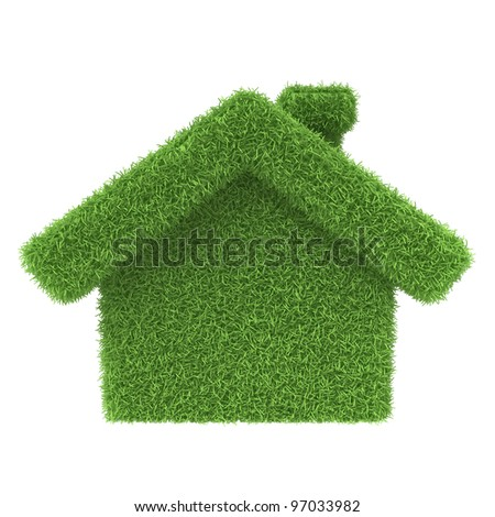 Grass house on a white background. 3d render icon - stock photo
