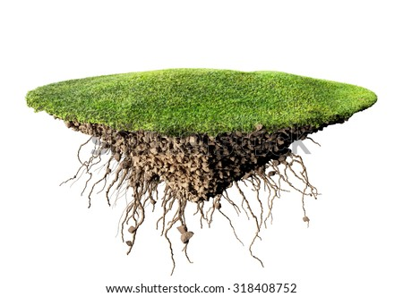 grass island and soil 3D illustration - stock photo