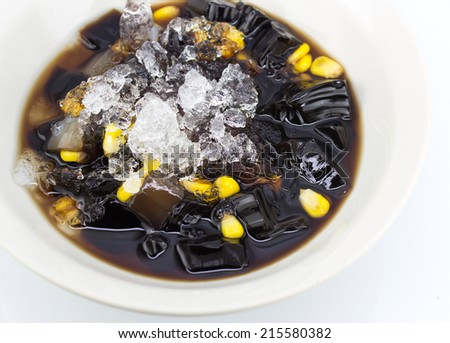 Grass jelly or Chinese vegetable jelly black in color is dessert