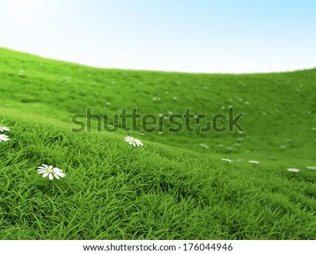 Grass landscape high resolution 3d render   - stock photo