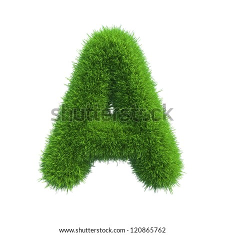 grass letter A isolated on white background - stock photo