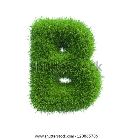 grass letter B isolated on white background - stock photo