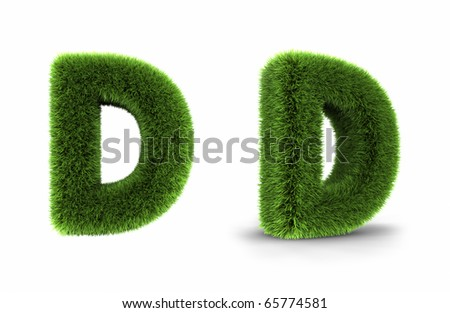 Grass letter d, isolated on white background