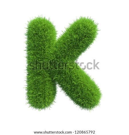 grass letter K isolated on white background - stock photo