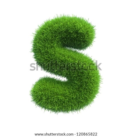 grass letter S isolated on white background - stock photo