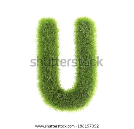 grass letter u isolated on white background - stock photo