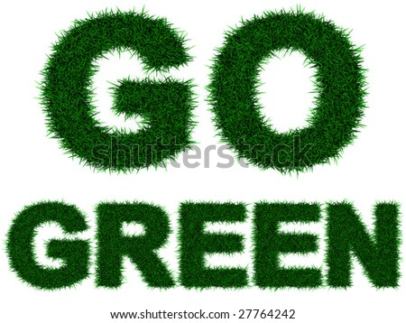 "Grass letters forming ""Go Green"" , isolated on white. Incredibly detailed 3d rendering - stock photo"