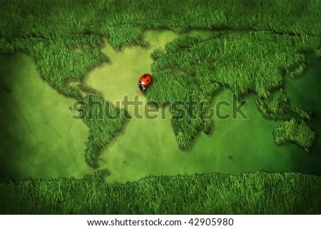 grass map of world - 3D computer graphics - stock photo