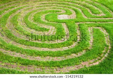 Grass maze - stock photo