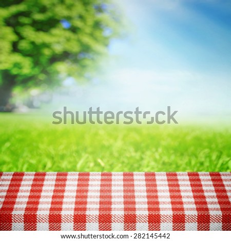Grass meadow in the park with table for picnic - stock photo