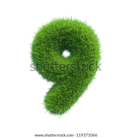 grass number 9 isolated on a white background
