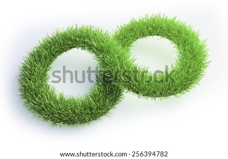 Grass patch shaped like an infinity symbol. - stock photo