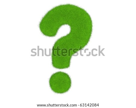 Grass question mark isolated on the white background