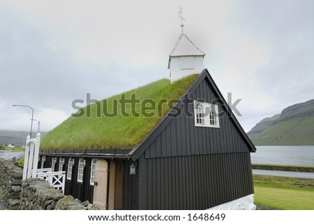 Grass-roof church in the Faroe Islands