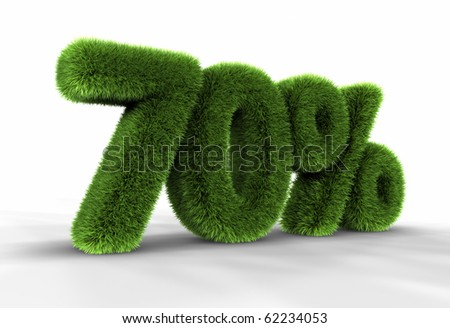 Grass seventy percent, isolated on white background. 70% - stock photo