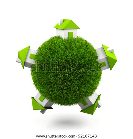 Grass sphere with houses isolated on a white background. - stock photo