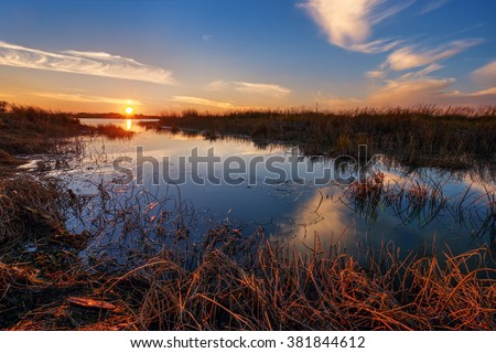 Grass submerged in placid water, orange sunset on the horizon - stock photo