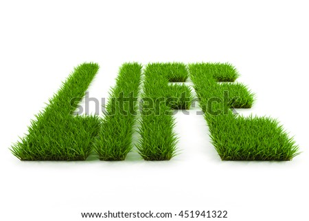 Grass text grown with Life word 3d render