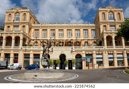GRASSE, FRANCE - JUNE 2, 2014: Palace of Congresses. Previously, there was placed in the casino Belle Epoque. This building was built in the XVIII century.