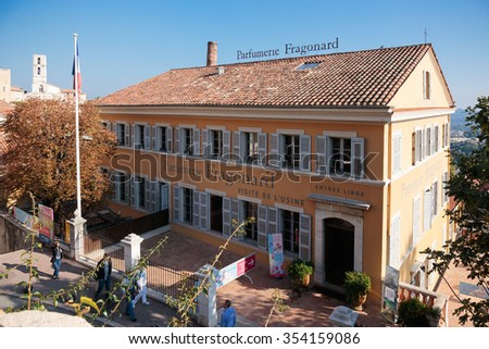 GRASSE, FRANCE - OCTOBER 31, 2014: Parfumerie Fragonard. Grasse is the world perfumes capital with the famous Fragonard perfumery.