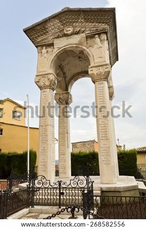 GRASSE, FRANCE SEPTEMBER 9, 2014: The war memorial in Grasse, France, commemorates the residents of Grasse who were killed or missing during World War I  - stock photo