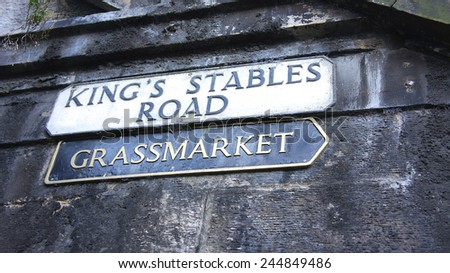 Grassmarket and King's Stables Road street sign, Edinburgh - stock photo