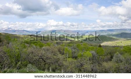 Grassy hills in the northern utah wasatch mountain range - stock photo
