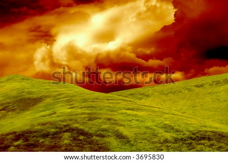 Grassy knoll with Amazing sky, Perfect for wallpaper