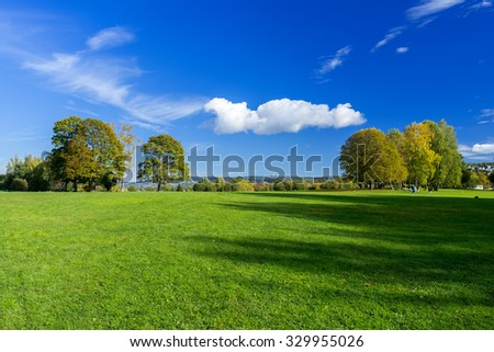Grassy meadow with trees, sky and clouds - stock photo