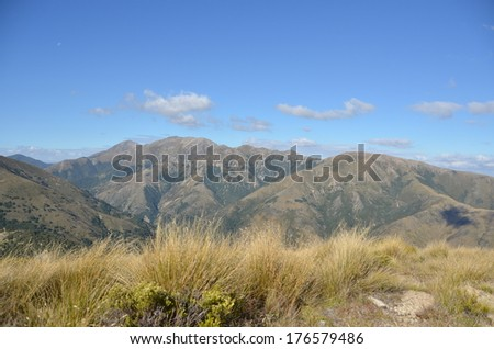 Grassy Mountains, New Zealand - stock photo