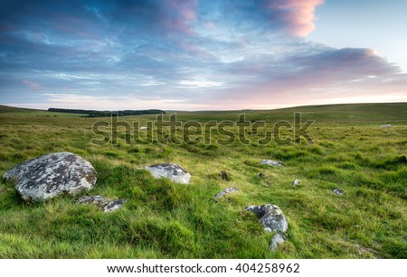 Grassy plains and wide open space near Roughtor on Bodmin Moor in Cornwall - stock photo