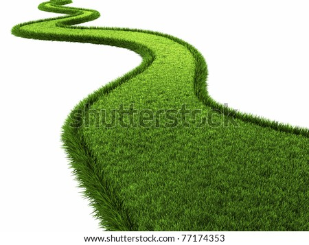 Grassy road isolated on white background, 3d render - stock photo