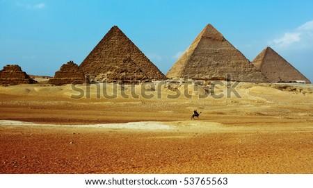 Grate pyramids in Giza valley - stock photo