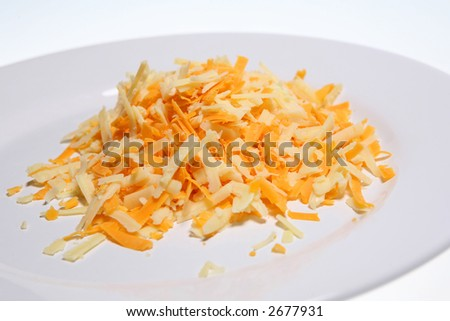 Grated Cheddar and Red Leicester cheeses - stock photo