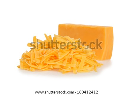 Grated cheddar cheese on white background - stock photo