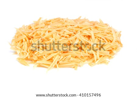 Grated cheese isolated on a white background - stock photo