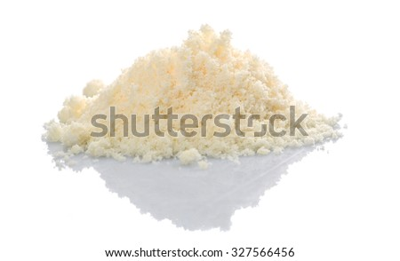 Grated cheese over white background - stock photo