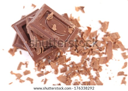 Grated chocolate. On a white background.