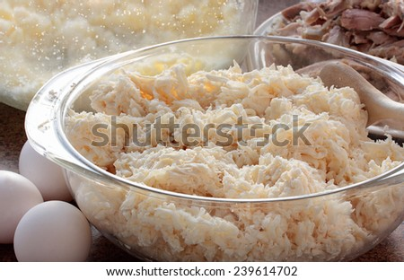 Grated manioc, eggs, butter and cooked chicken, key ingredients for cassava pie - stock photo