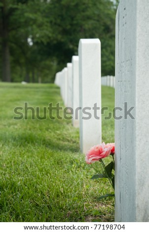 Grave at Zachary Taylor National Cemetery in Louisville, Kentucky - stock photo