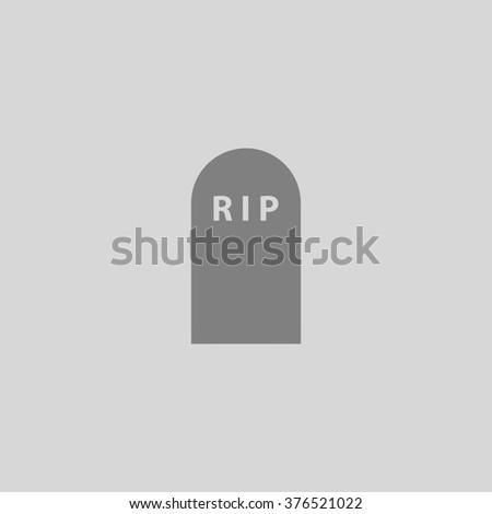 Grave. Grey simple flat icon - stock photo