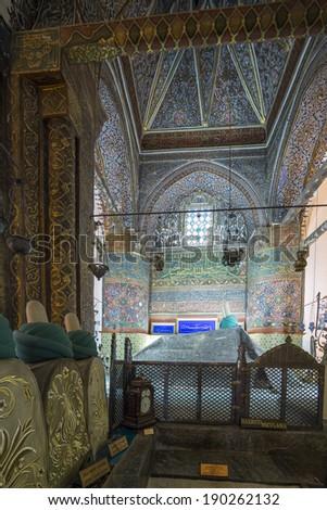 Grave of Mevlana inside Mevlana Museum, Konya - Turkey - stock photo