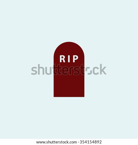Grave Red flat icon. Simple illustration pictogram - stock photo