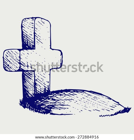 Grave with a cross. Doodle style. Raster version - stock photo