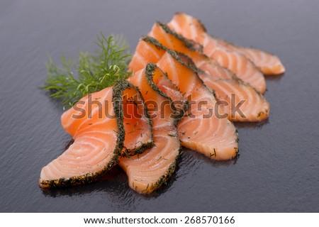 Graved salmon - stock photo